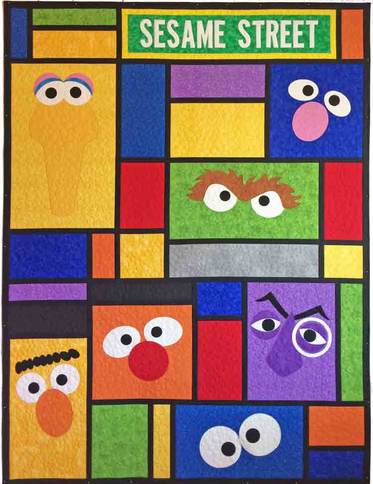 custom Sesame Street quilt by Whimzie Quiltz and More