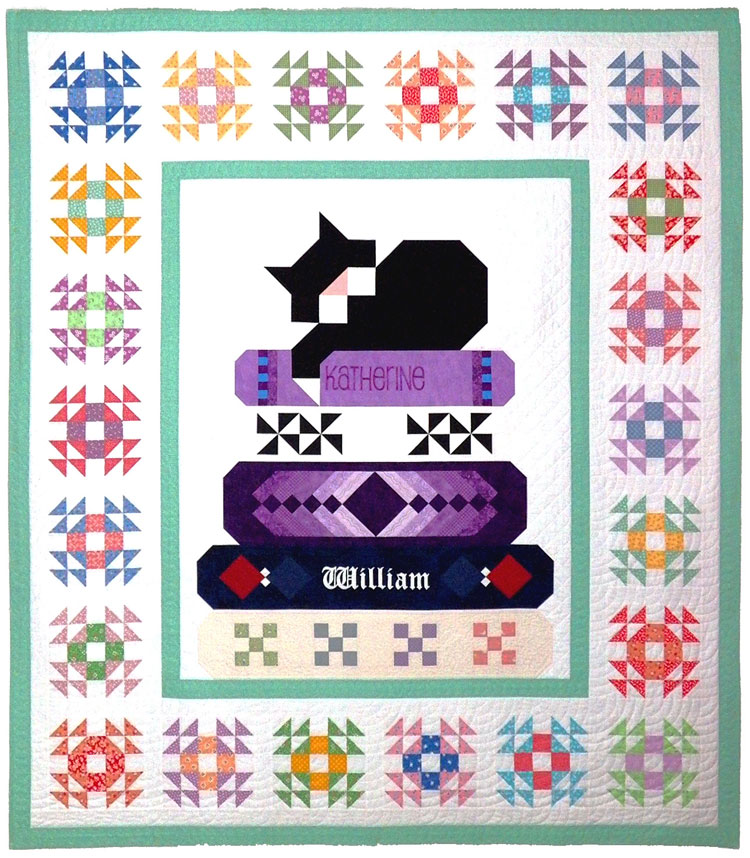 custom sleeping cat quilt by Whimzie Quiltz and More