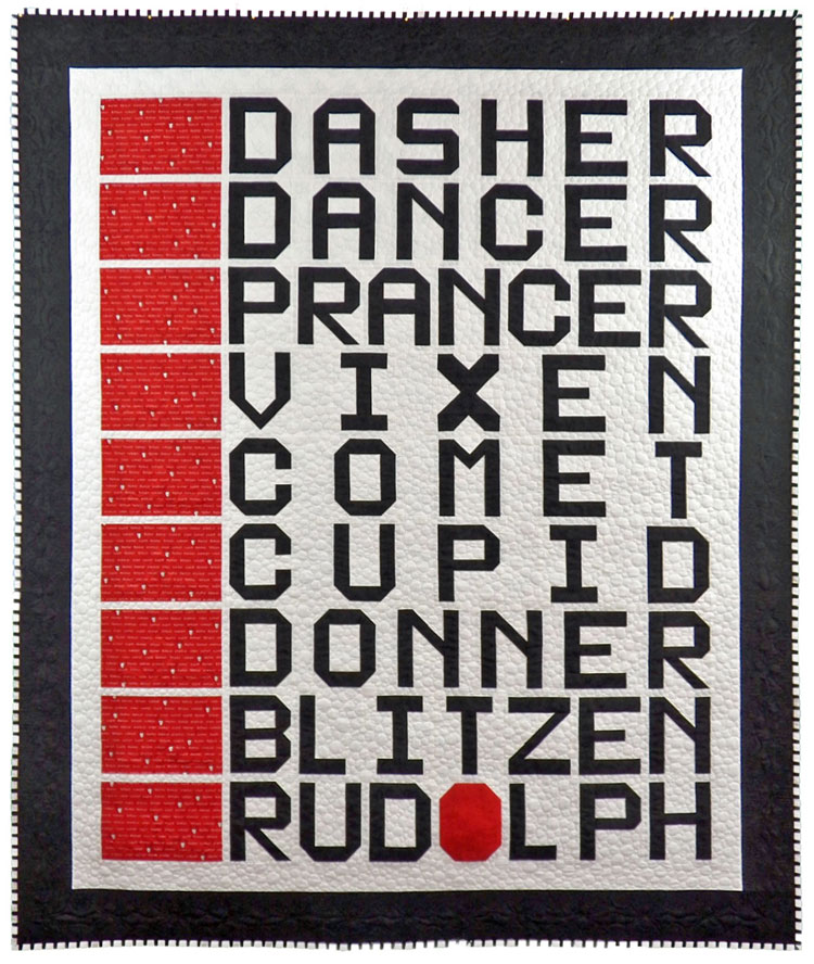 custom reindeer names quilt by Whimzie Quiltz and More