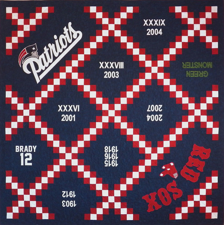 custom Patriots / Red Sox quilt by Whimzie Quiltz and More