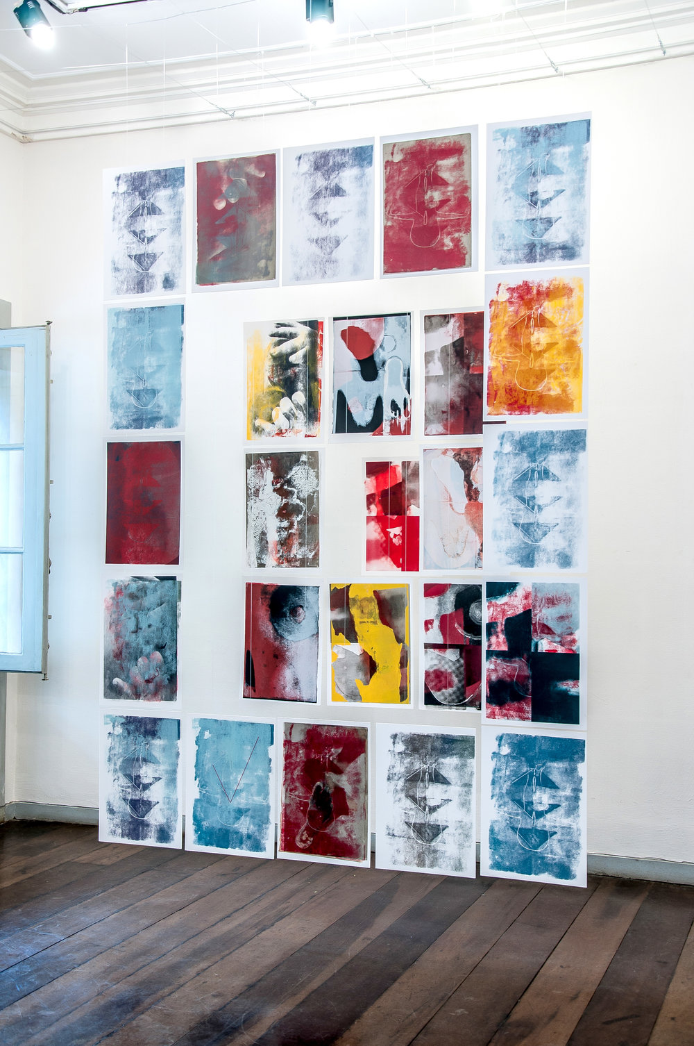 Installation  Portal to Kaph  is composed by 25 screenprints, each one embedded with a Hebrew letter invisible to the eyes. We placed it in the entry room, welcoming viewers into the exhibition.