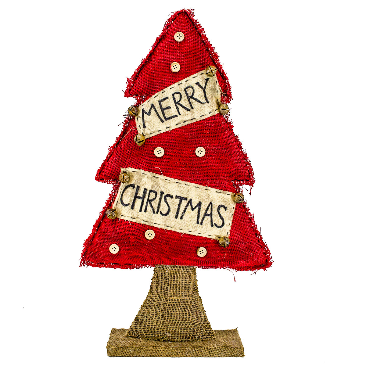 Red Burlap Christmas Tree On Burlap Base The Decorating Centre