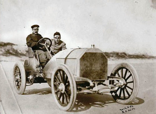 """Willie K. at the wheel of his """"Red Devil"""" Mercedes in 1904    Photo via the Suffolk County Vanderbilt Museum"""