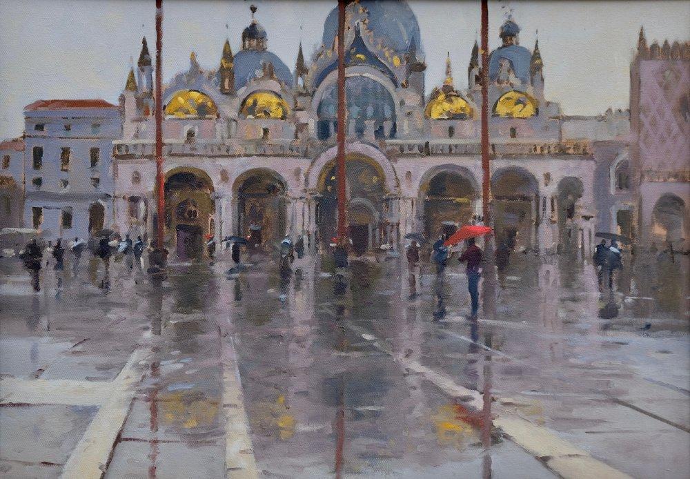 St Mark's Square, Venice, Acqua Alta, by Ben Mowll. Oil on Canvas. Unframed size: 600mm x 500mm.Price£2,500. Status:available.