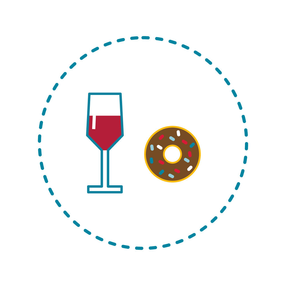 A medium glass of wine = 130 calories, the same as a chocolate donut! -