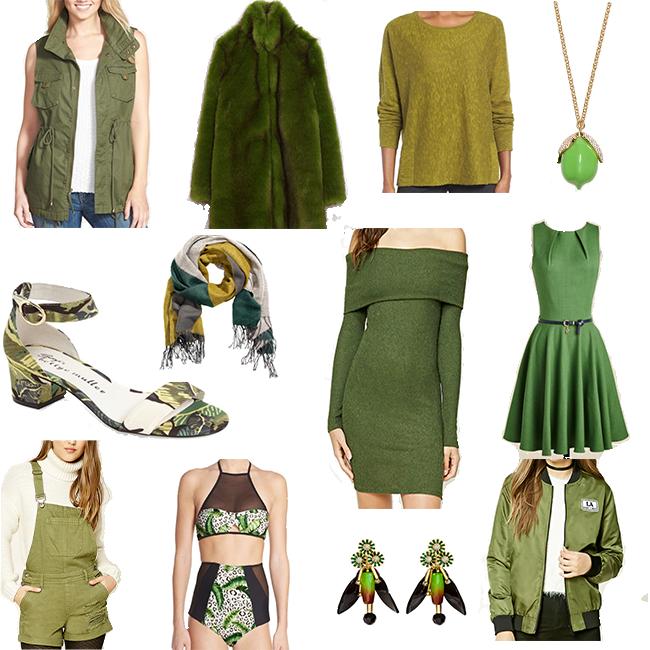 1| Twill Vest 2| Zara Faux Fur Coat 3| Coriander Pullover 4| Lime Necklace 5| Block Heel Tropical Sandal 6| HM Scarf 7| Off the Shoulder Dress 8| Modcloth Dress 9| Shorteralls 10| Tropical Bikini 11| HM Earrings 12| F21 Bomber Jacket