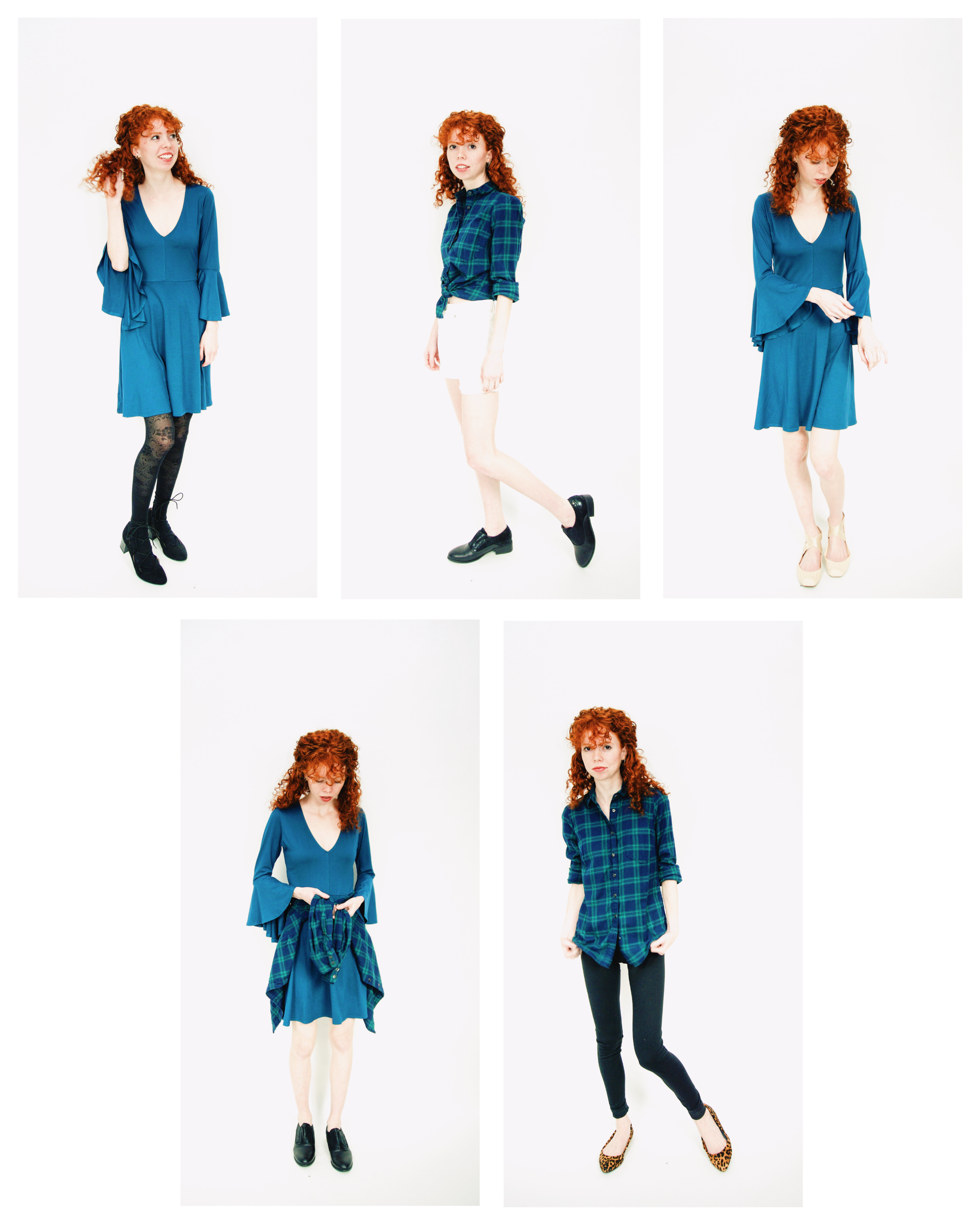 Pairing the trendy bell-sleeves with some wintery flannel and cozy leggings for a December 5x5 Capsule