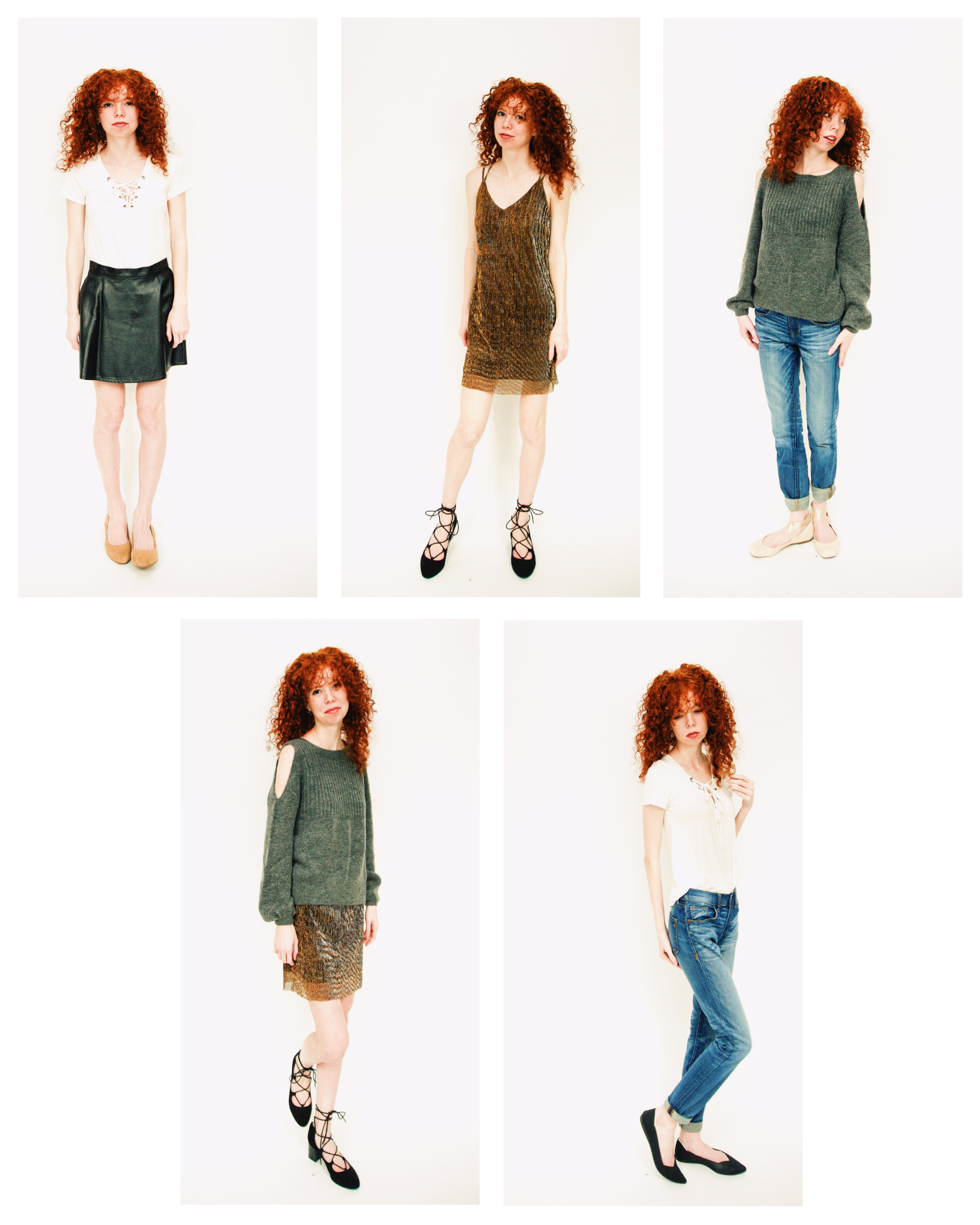 Cold shoulder sweaters and metallic dresses are perfect for taking you from Grandma's house to the Office party through Christmas and New Years! Then don't forget to relax in your jeans and tee for some downtime. You deserve it!