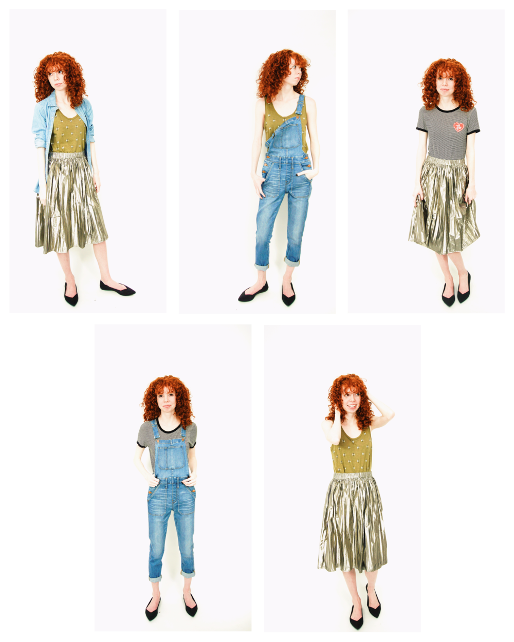 Girl in silver skirt, green tank, overalls, black flats, and chambray shirt