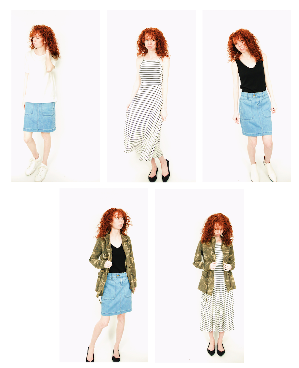 Utility skirts, jackets, shirts, everything! Whether you need Utility for your realistic lifestyle or just for fun, I've got you covered with this capsule including striped dresses, denim skirts, plain white tees, and a camo jacket.