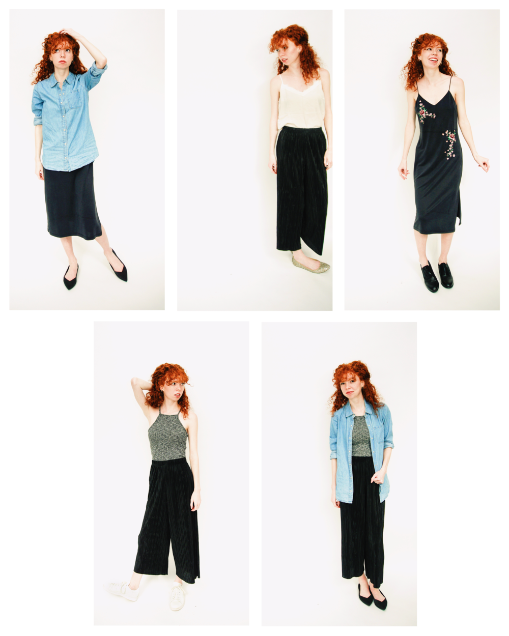 Keep it casual and chic with some wide leg pants and a chambray shirt. Throw on a midi dress or a knit top to take it up a notch and keep you rockin' this New Year!