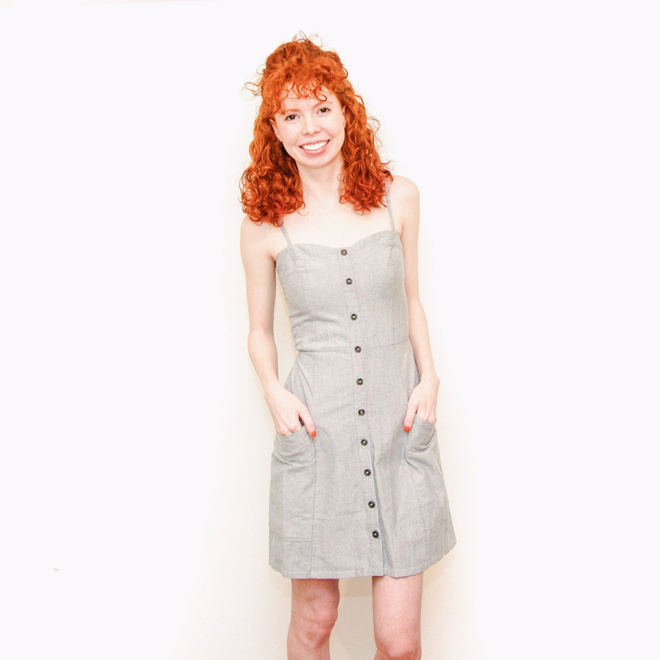 girl-in-gray-button-front-dress