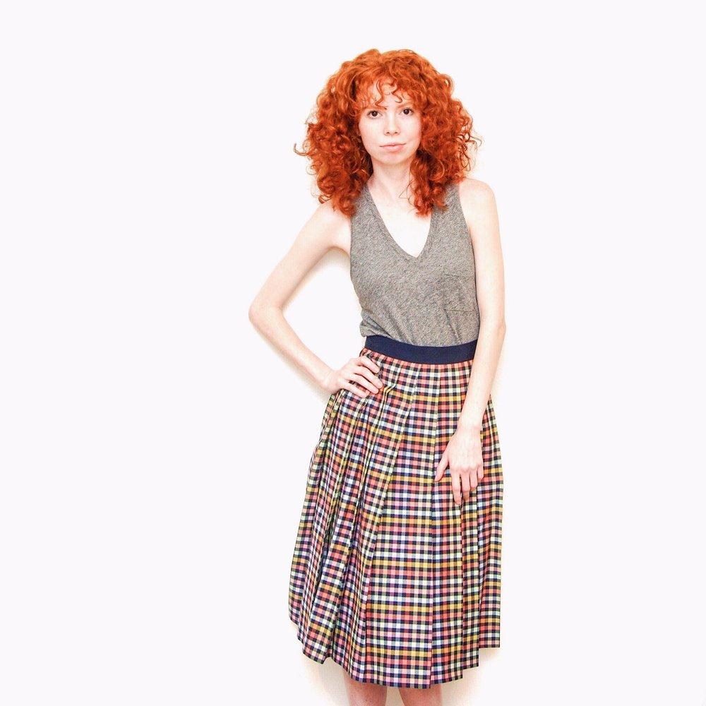 girl-in-gray-tank-check-midi-skirt-vintage