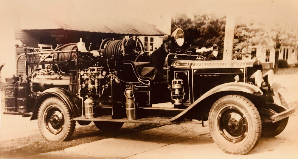 """- 1931 -Cheverolet Chemical Truck, purchased from the Buffalo Fire Apparatus Co.""""Chemical"""" fire trucks carried tanks with a solution of bicarbonate and water, in which a small 'charge' of acid was poured, pressurizing the liquid and propelling it through hoses. These trucks were popular at the turn of the 20th century, and were gradually replaced with modern """"pumpers"""", then referred to as """"boosters""""."""
