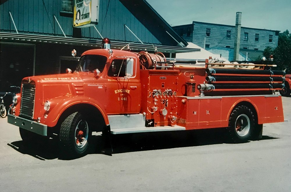 - 1959 - International Ward / LaFrance E-416/E-441 - Equipped with a Waterous center mount 500 gallon per minute pump. Replaced the 1940 M-43 booster truck. Remained in service through 1979, replaced by the Ford pumper.