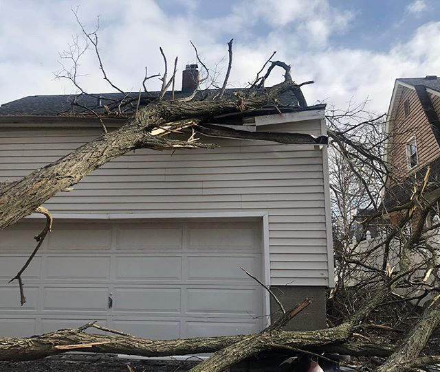 Unfortunately, yesterday's 20-30 mph winds did some damage. Fortunately, we are here to help! Call today for an estimate • • • #rochesterny #windstorm #treedamage #generalcontractor #garage #construction #crespohomeimprovements #repair #garagerepair #homerepair #callustoday!