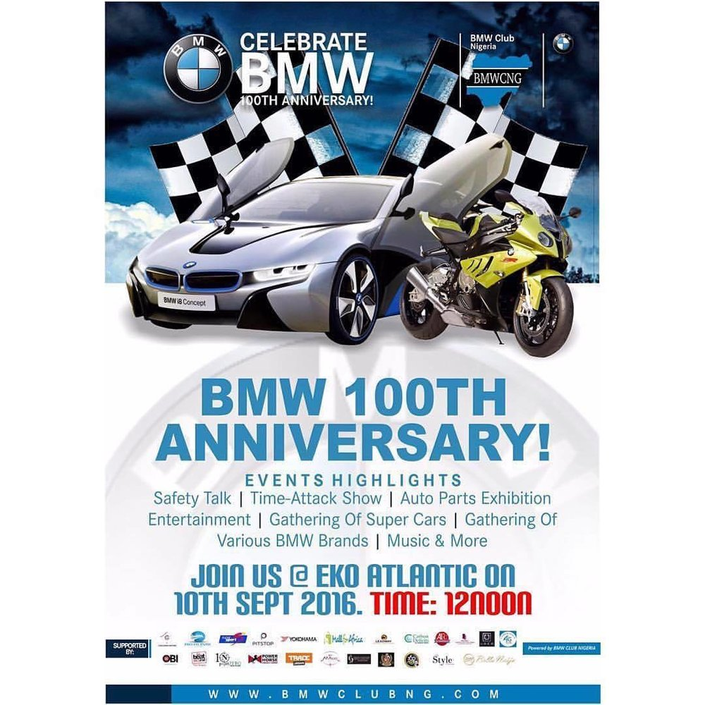 """You are cordially invited to @bmw's 100th Year Anniversary - """"1st Motorsports Edition"""".     Attractions include: luxury car exhibition, race circuit, test drives, shopping, food, drinks, performances & music by @guinnessworldrecords holder @djobiajent.    Join the celebration at Eko Atlantic 👯TODAY👯   Saturday, 10th of September 2016 from 12 to 7PM.    BMW Clubs - One Passion One Community.   @bmwclubnigeria #bmwcng100      ====   #NTDIL #FindYourLagos #ShareYourLagos #ThingsToDoInLagos #Lagos #LagosParty #LagosEvents #LagosLiving #LagosLately #LagosLife #LagosFashion #LagosFashionista #LagosCity #NothingToDoInLagos"""
