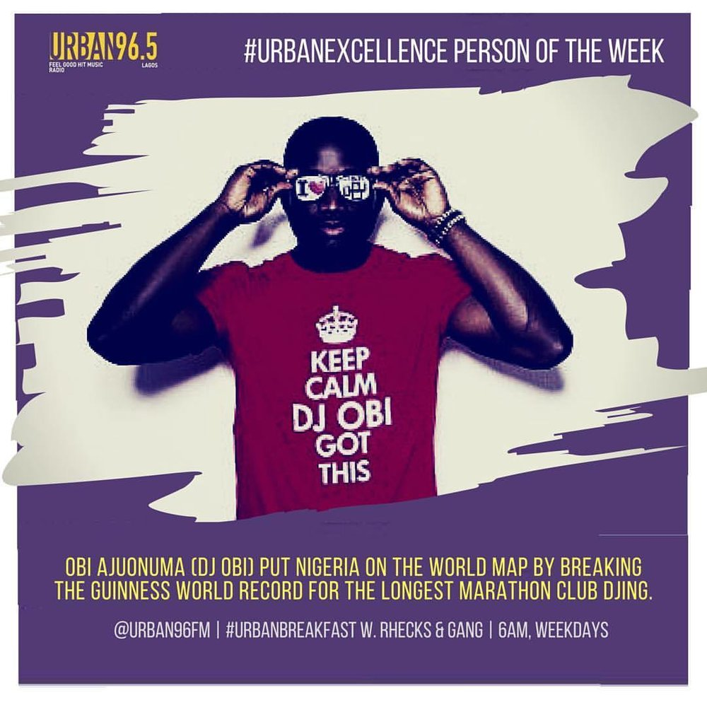@djobiajent got the #UrbanExcellence shutout on the #UrbanBreakfast show last Wednesday for walking the plank and setting the benchmarck high. The #GuinnessWorldRecord review of his massive effort is still underway but anyday now, he should be crowned King of the bad-ass. 💥  Listen out at 6:45AM on @urban96fm for this week's trailblazer.