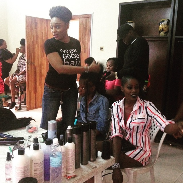 Watching @KemiLewis in action, repping #KLSNaturals as the #NNTD finalists and models get ready for #StreetCatwalk at #ThePalms #Lekki today. Come see all the great looks at 4pm! #AFWN #AFWN2015 countdown to #AfricaFashionWeekNigeria