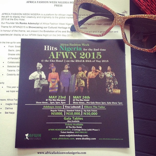@KOJEyewear and I currently at the #AFWN press brunch.  #AFWN2015 tickets are available online at 'Naija Ticket Shop', 'Afri Tickets' and 'Deal Dey' #KOJEyewear