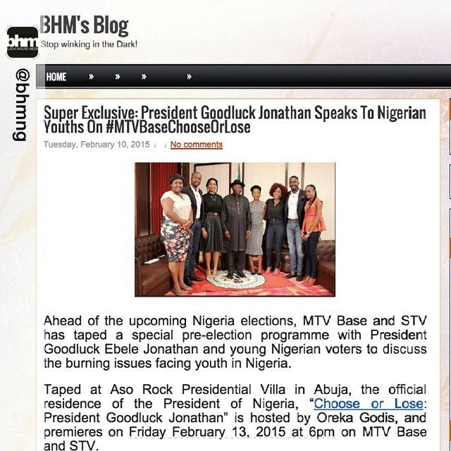 Repost from @bhmng, #DidYouKnow President Goodluck Jonathan was on #MTVBaseChooseOrLose to address Nigerian #Youths?  Log on to  www.bhmng.blogspot.com  for details.
