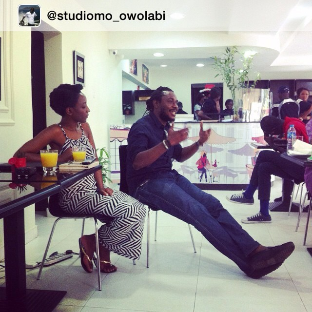 Sharing is caring, thank you  @studiomo_owolabi for having me learn so much today. @uchejamesiroha, you have a new stalker oh. Thou art pre warned :) #AdebayoJones #BreakfastWithTheCreatives #creatives #photography #photographer #presenter #oap #designers #tvpresenter #tundeowolabi #tundeowolabistudios #studiomo #BWTCreatives #caffetranche #CelebrityFashionDesigner #celebrity