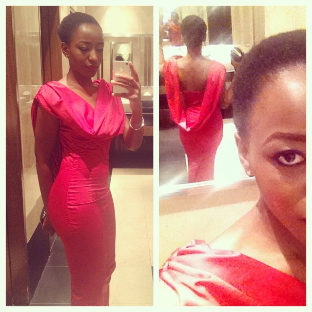 Powder room selfies before the phone died #TheHeadies2014 @3NoStyle put me in a red number by Dumebi's Clothing