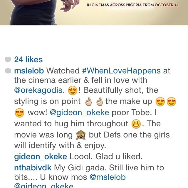 Thank you @mslelob! #WhenLoveHappens out now in all Nigerian cinemas