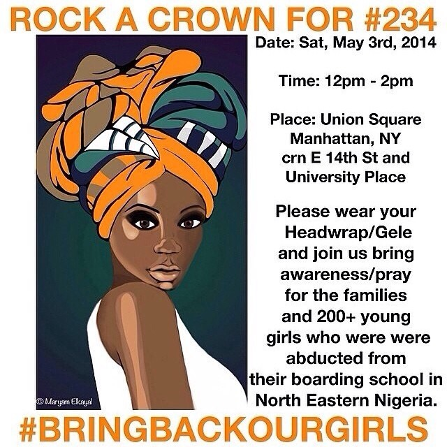 turbanista :     #Bringbackourgirls : 234 girls from 16 to 18 were kidnapped from school in Nigeria 2 weeks ago. The world is watching and the leaders are doing Nothing to Save them.     Rock a crown to support them. We are Praying for them, may they all be found and returned to their family.     Interesting way to draw attention to the matter.