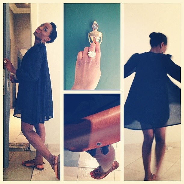 "Merry Sunday! @greyprojects dress, ""borrowed"" #Championship ring, baby #satchel"