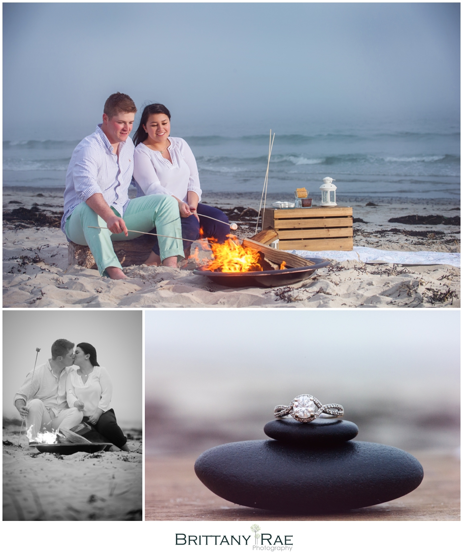 Maine Beach Bonfire with Smores Engagement