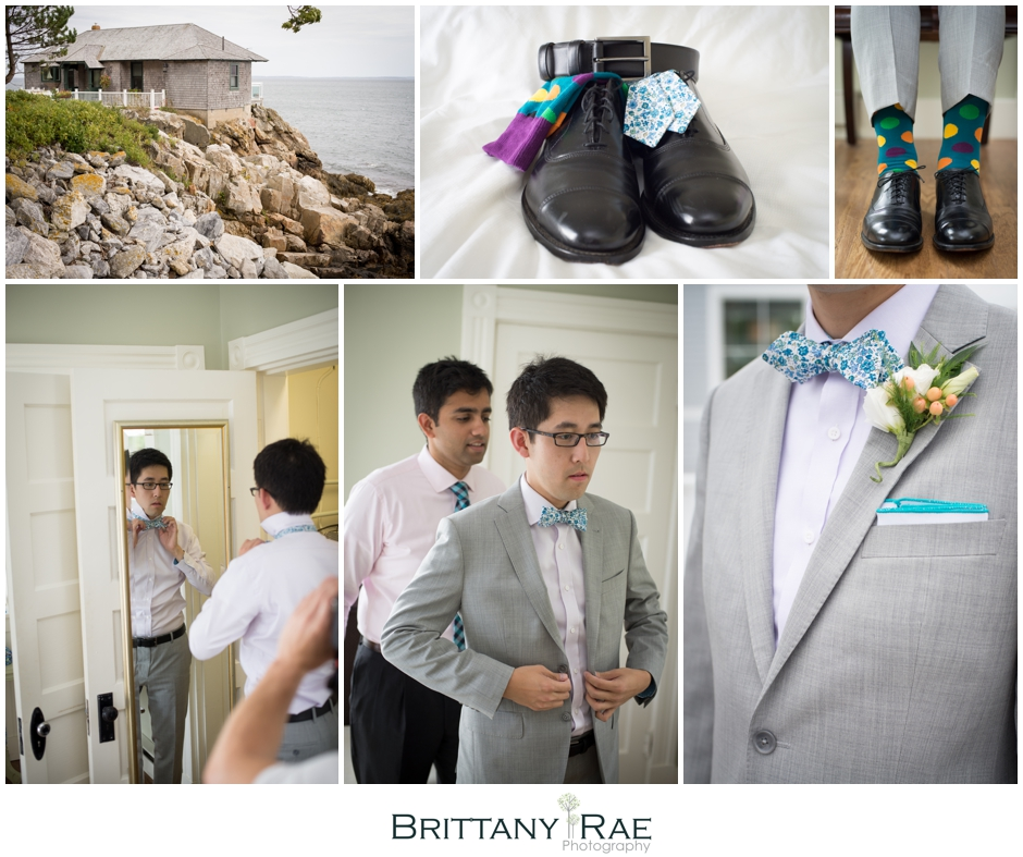 Groom with blue bow tie, by Samoset Resort Wedding Photographer, Brittany Rae Photography