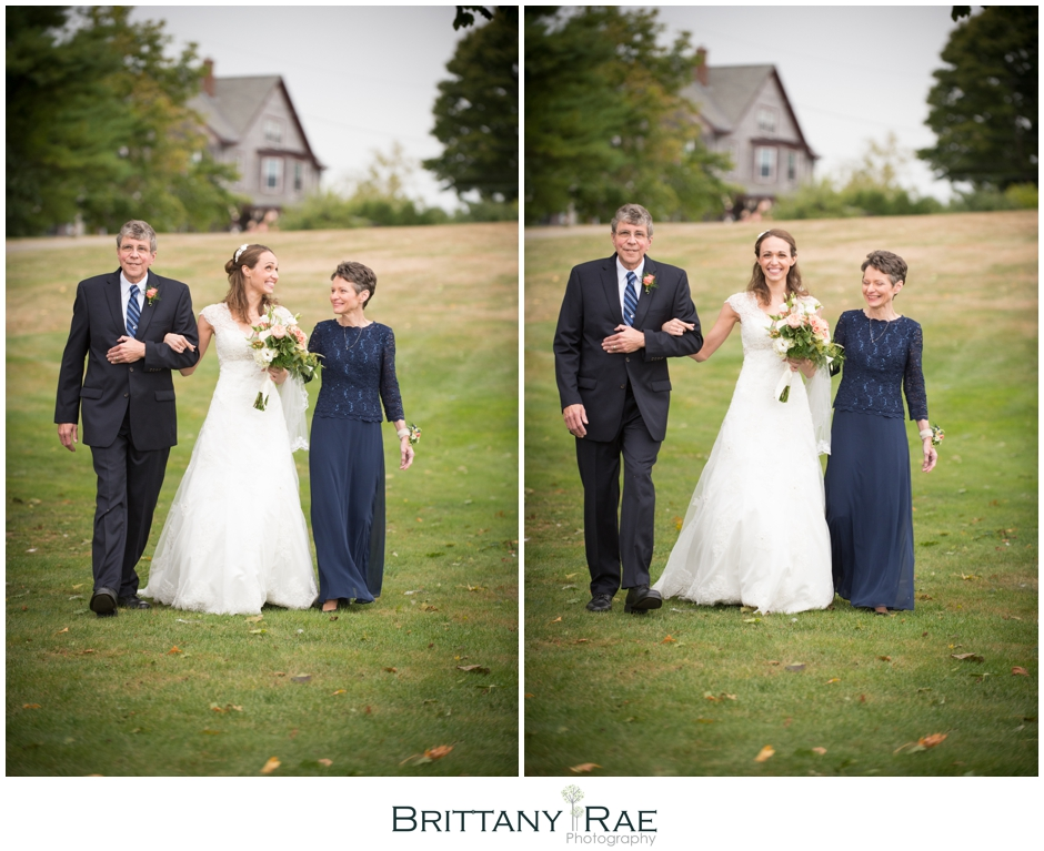 Both parents walking bride down the aisle by Samoset Resort Wedding Photographer, Brittany Rae Photography