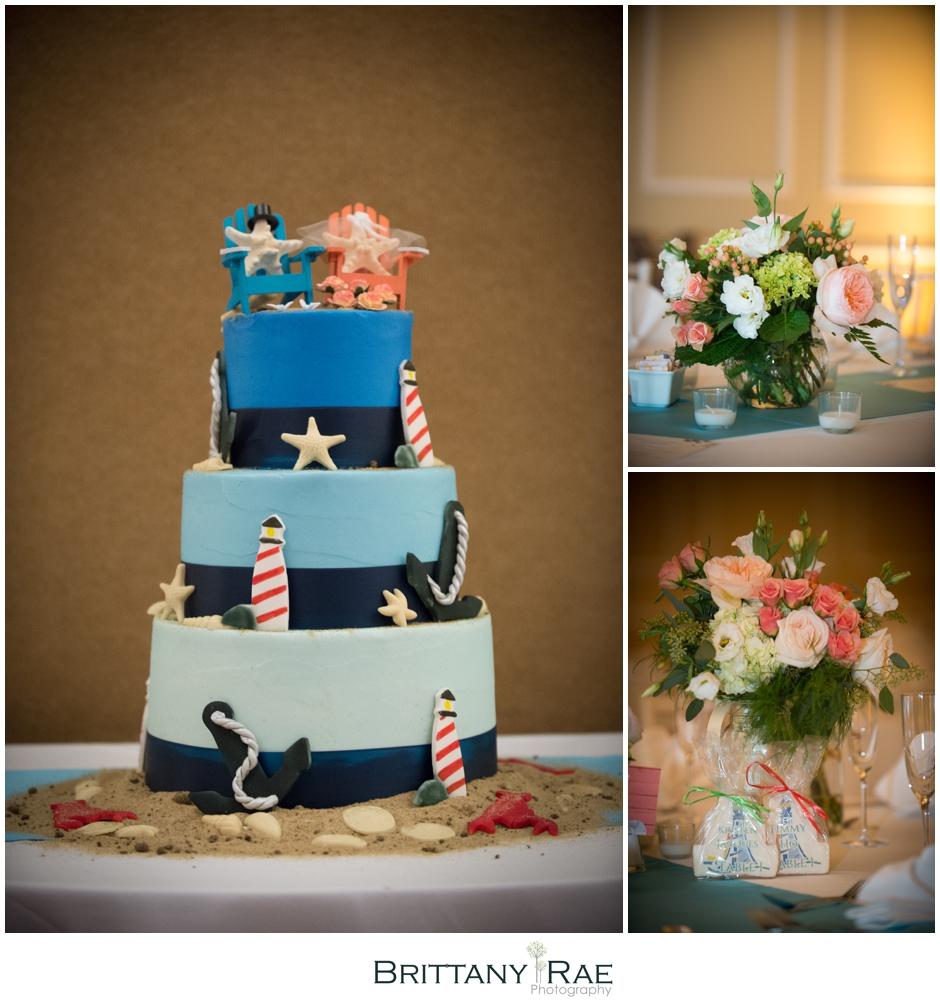 Nautical wedding cake by Samoset Resort Wedding Photographer, Brittany Rae Photography