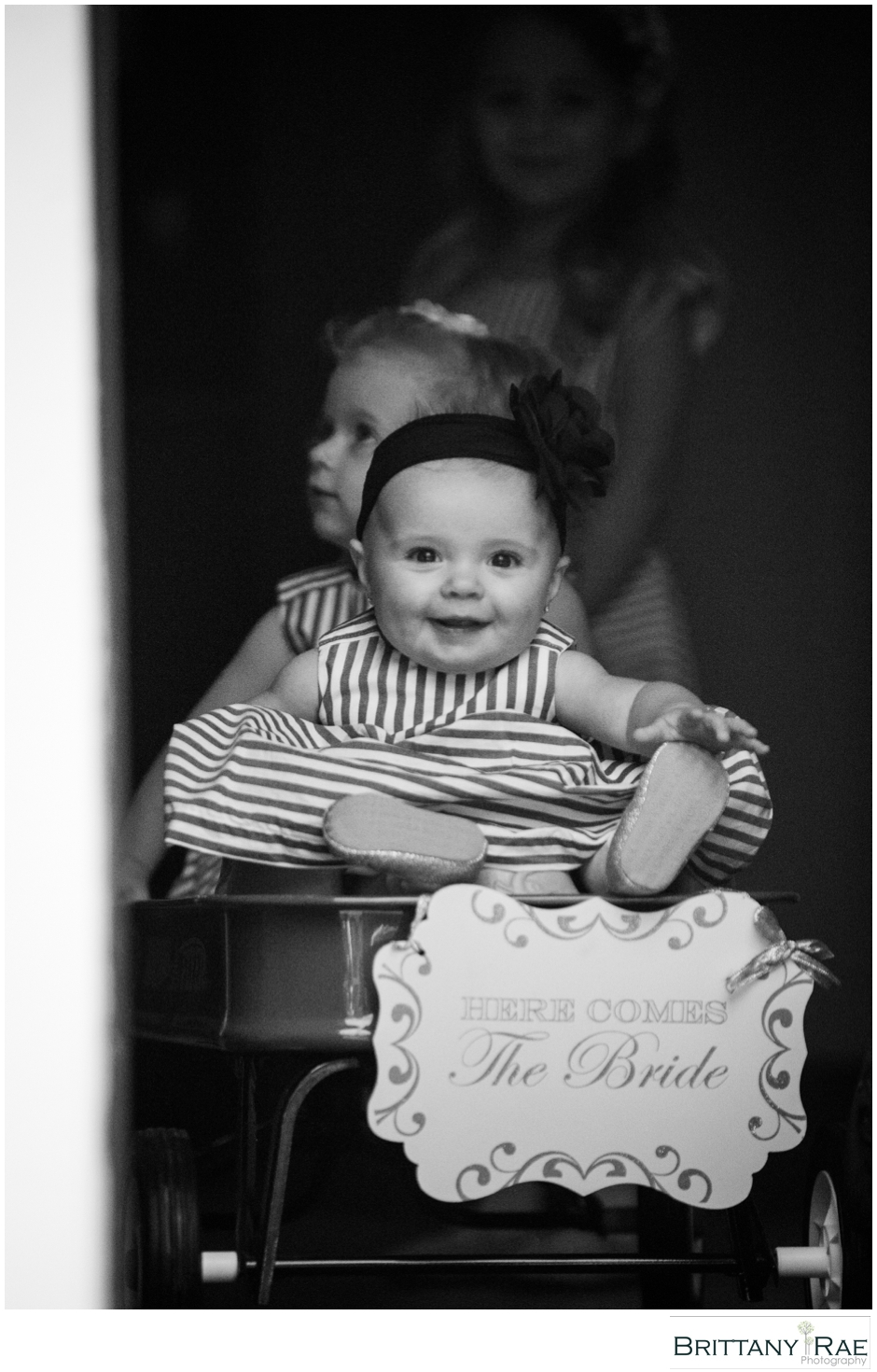 Cute Flowergirls in a wagon, by Maine Wedding Photographer Brittany Rae Photography
