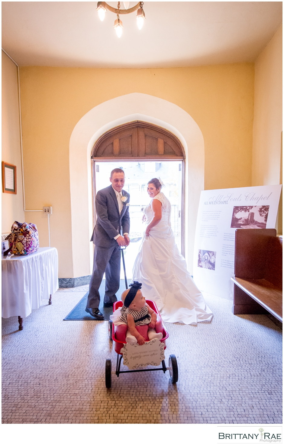 Bride, Groom, flower girl by Maine Wedding Photographer Brittany Rae Photography