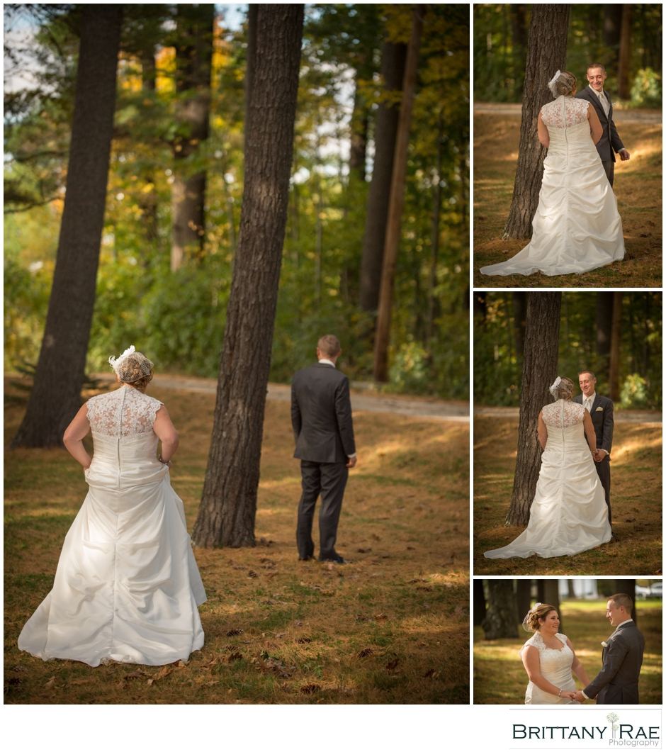 Wedding Day First Look in the woods, by Maine Wedding Photographer Brittany Rae Photography