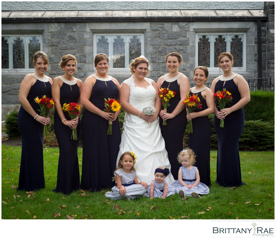 Bridal Party with Three Flower Girls, by Maine Wedding Photographer Brittany Rae Photography