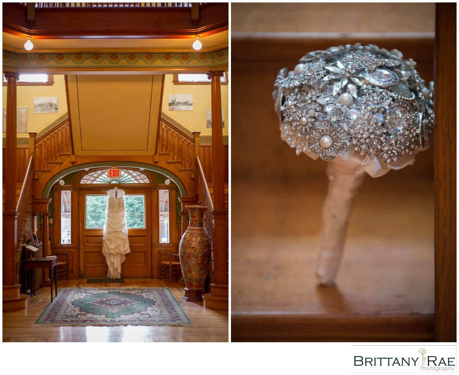 Dress & Broach Bouquet, by Maine Wedding Photographer Brittany Rae Photography