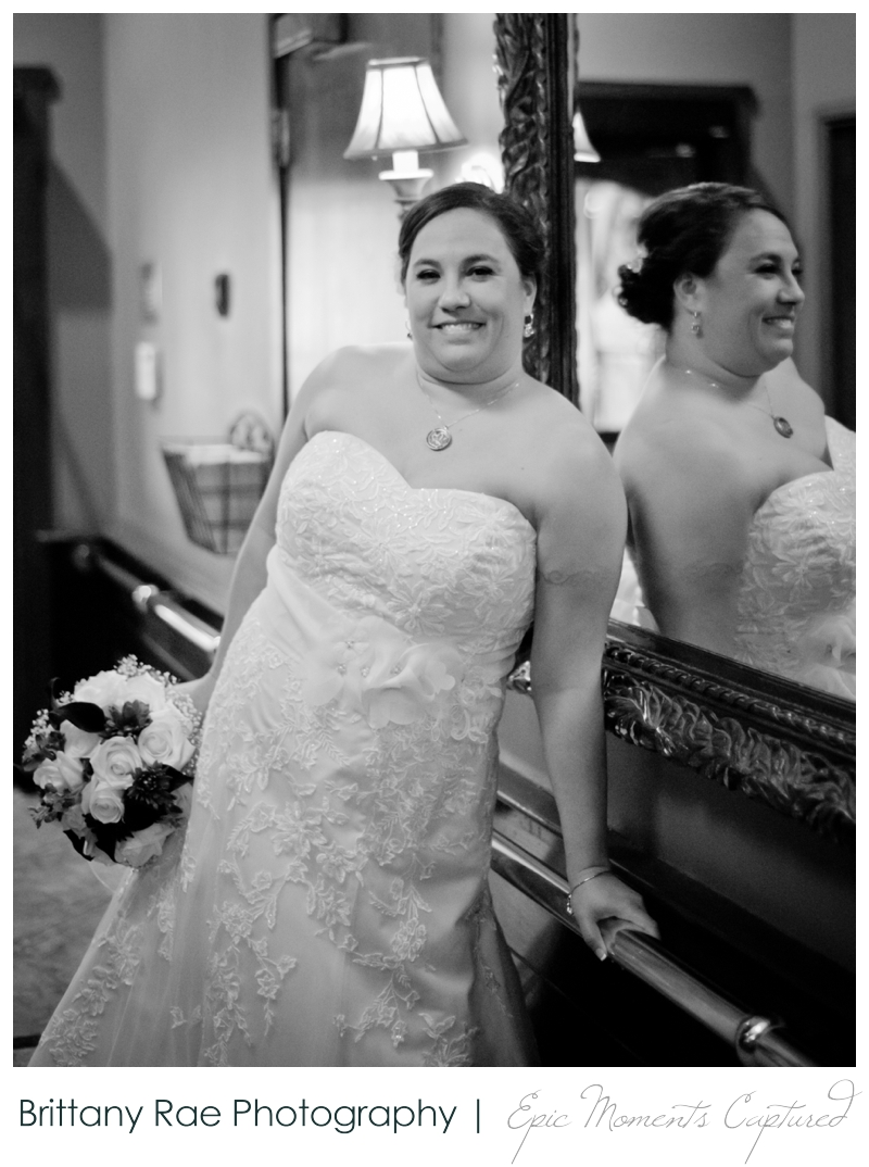 Dimillo's Floating Restaurant wedding photos - black and white bridal portrait