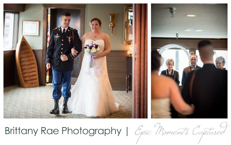 Dimillo's Floating Restaurant wedding photos - son walking bride down aisle