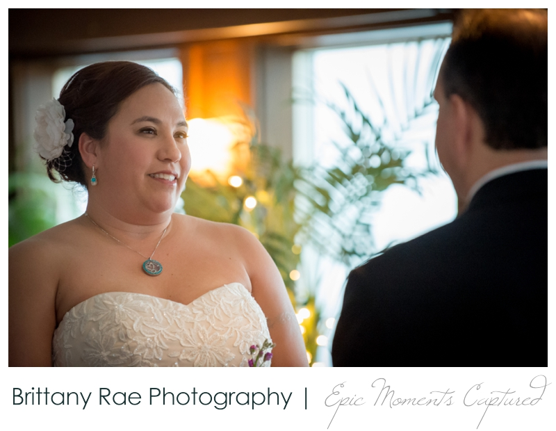 Dimillo's Floating Restaurant wedding photos - bride during ceremony