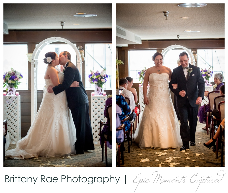 Dimillo's Floating Restaurant wedding photos - first wedding kiss