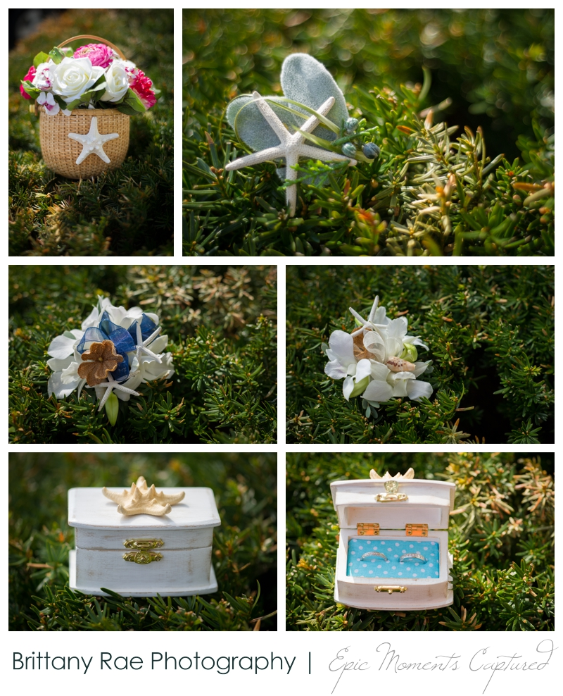 Kennebunkport Wedding | Pemaquid Light Wedding - flowers and bouquets with seashells
