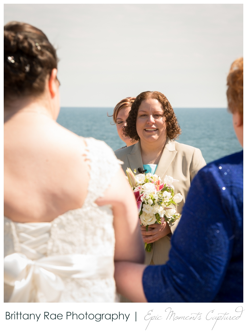 Kennebunkport Wedding | Pemaquid Light Wedding - bride seeing the bride walk down the aisle
