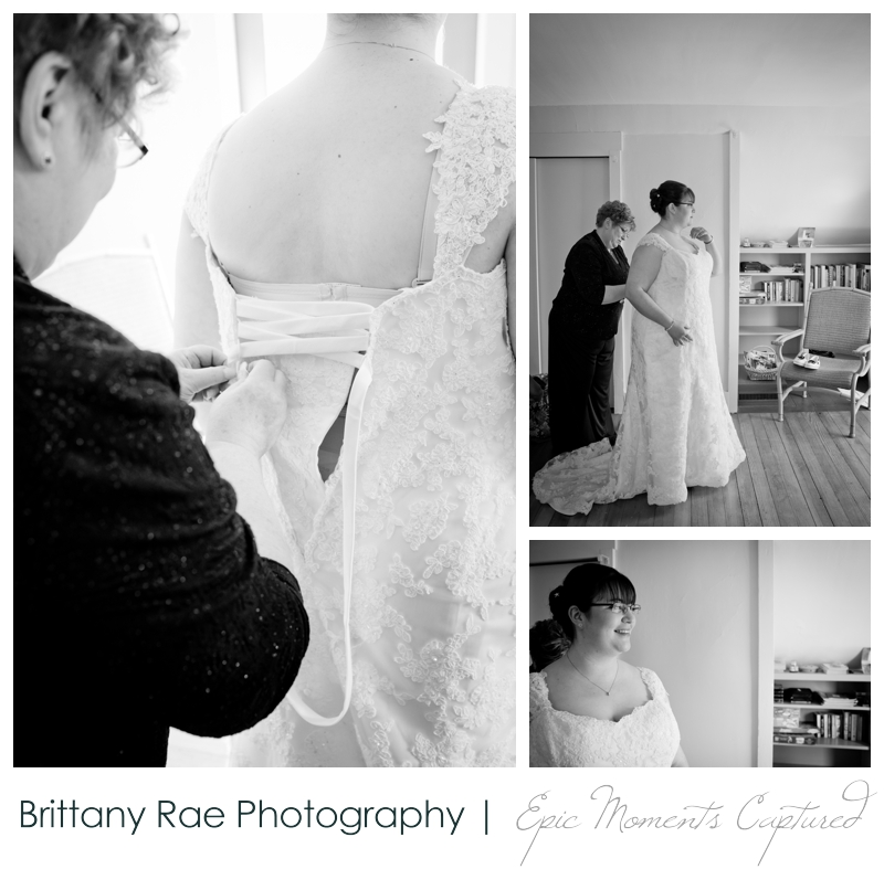Kennebunkport Wedding | Pemaquid Light Wedding - Bride being laced into wedding dress