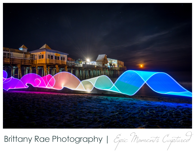 Light Painting at Old Orchard Beach Maine, OOB Pier at night