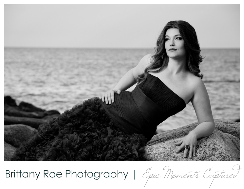 On location glamour portraits in Kennebunkport - girl in gown on rocks
