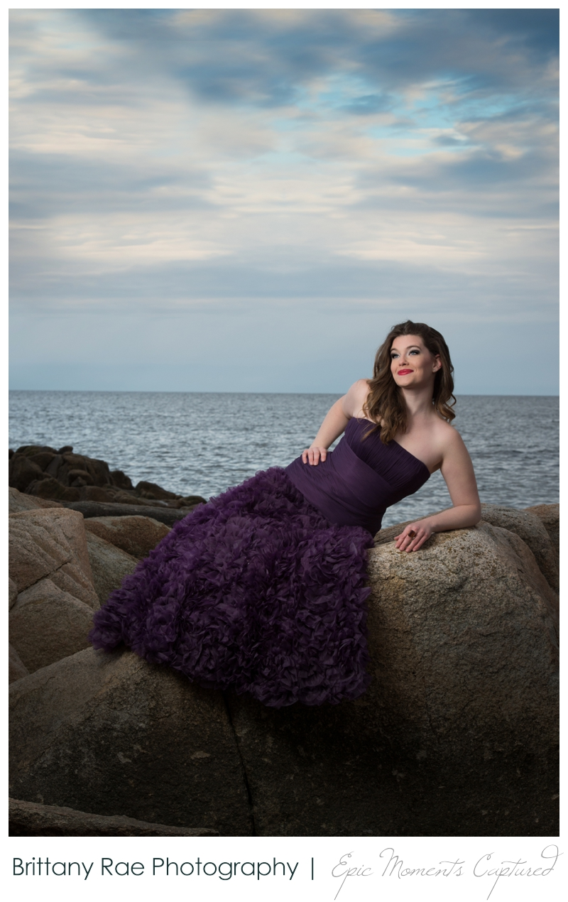 On location glamour portraits in Kennebunkport - Girl by ocean in gown