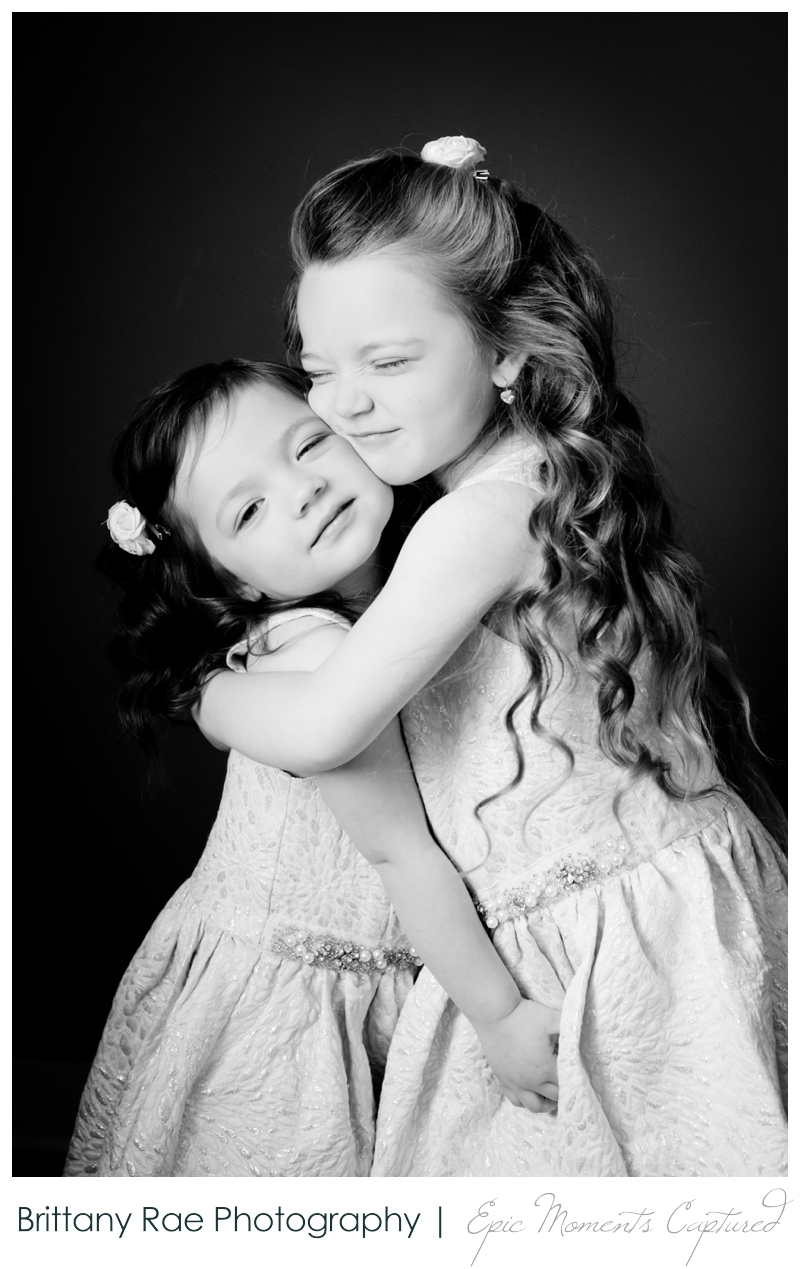 Mom and Me Portraits - Black and white adorable little girls portrait